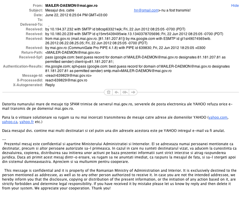 Cum iti citeste Ministerul Administratiei si Internelor mailul