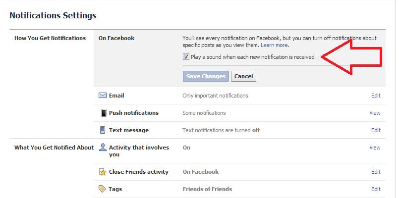 Sunet pe notificarile din Facebook
