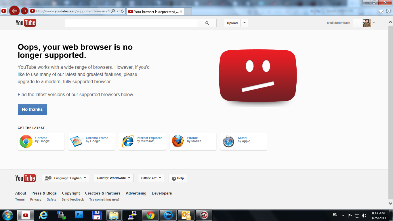 Youtube si Internet Explorer 10