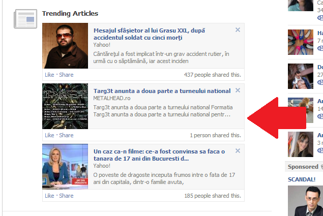 Articolele trending pe Facebook