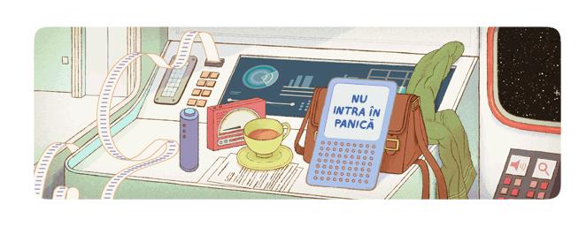 douglas adams nu intra in panica google doodle