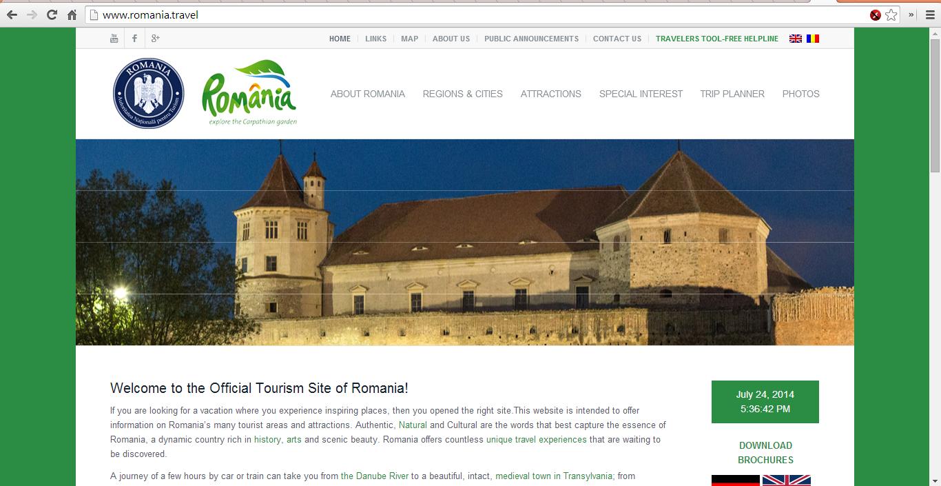 Romania.travel, siteul oficial de turism al Romaniei, facut cu 55 de dolari