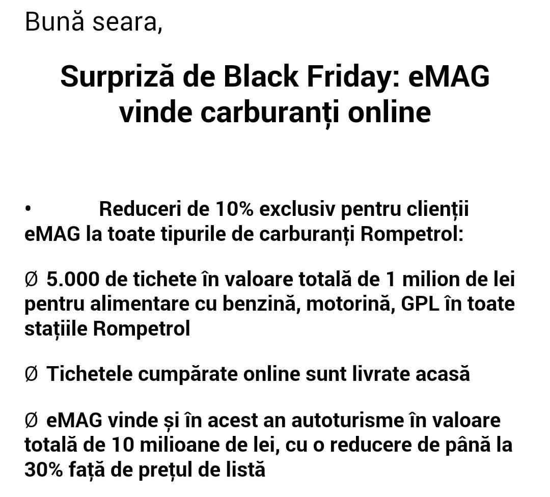eMAG vinde BENZINA si MOTORINA  10% REDUCERE