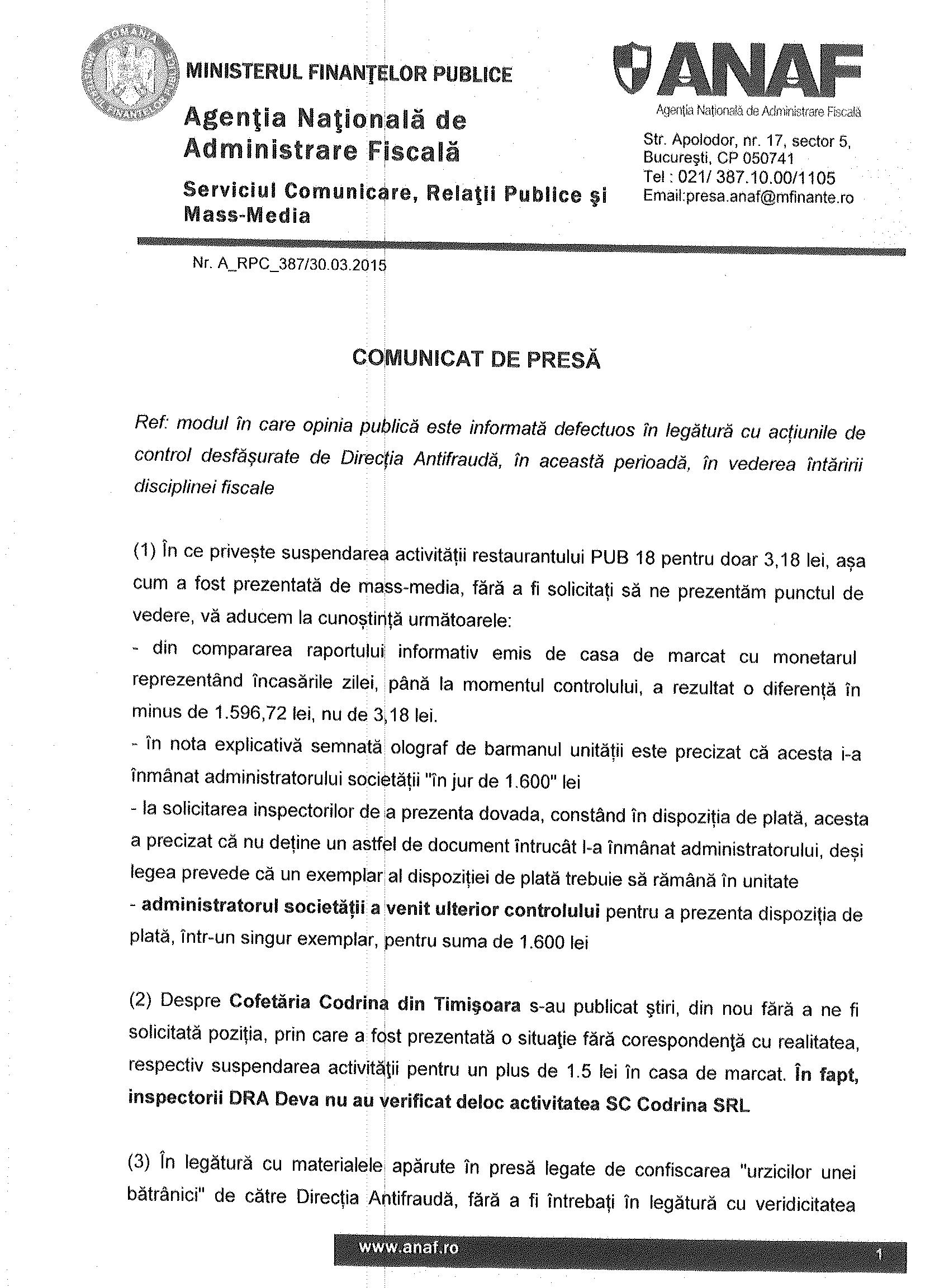 ANAF denigrată de presa neplătitoare de taxe