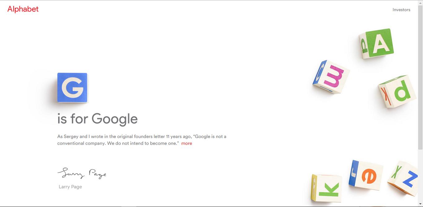 Adio Google. Bine ai venit Alphabet