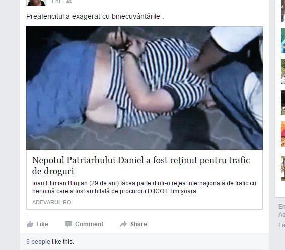 patriarhul daniel nepot arestat droguri